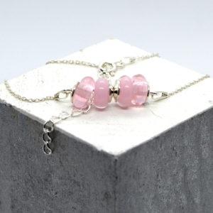 COLLECTION Bracelet fin, perle en verre chaine argent 925