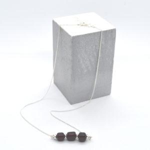 Collier fin perle en verre & argent 925