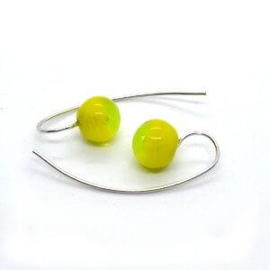 COLLECTION Boucles d'oreilles verre, GRAND CROCHET argent 925